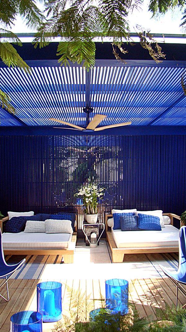 terraza en colores azules