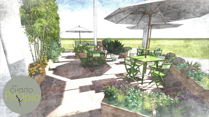 Jard n y terraza en gij n un cuarto propioun cuarto propio for Jardin urbano gijon