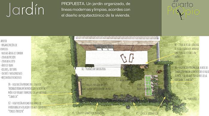 Planta. Jardin para una vivienda